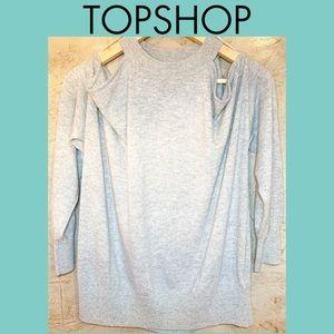 TOPSHOP  Light Grey Open Cold Shoulder Sweater